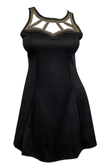 Plus Size Embellished Slimming Cutout Dress Black