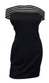 Plus size Sheer Stripe Off Shoulder Dress Black