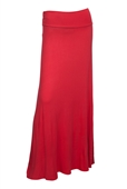 Plus Size Ruched Waist Hip Hugger Long Skirt Coral