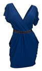 Plus size Deep V-Neck Wrap Bodice Dress Royal Blue