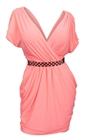 Plus size Deep V-Neck Wrap Bodice Dress Coral