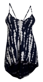 Plus size High-Low Racerback Tunic Top Designer Print Blue