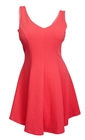 Plus Size Zipper Back Embossed Flared Sleeveless Dress Coral