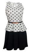Plus Size Sleeveless Polka Dot Peplum Dress White