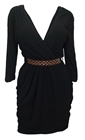 Plus size Deep V-Neck Wrap Bodice Long Sleeve Dress Black