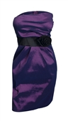 Jr Plus size Asymmetric Pleated Bodice Strapless Dress Purple