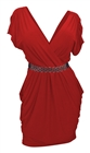 Plus size Deep V-Neck Wrap Bodice Dress Red