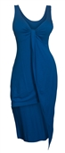 Plus size Asymmetric Hemline Sleeveless Dress Royal Blue