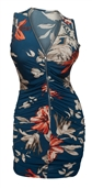 Plus size Zipper Front Ruched Mini Dress Blue Floral Print