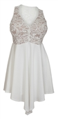 Plus size Lace Overlay Sleeveless Dress White