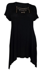 Plus Size Lace Up Tunic Top Black