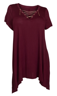 Plus Size Lace Up Tunic Top Burgundy Evogues Apparel