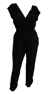 Plus Size Deep V-Neck Jumpsuit Black