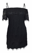 Plus Size Off Shoulder Lace Overlay Fringe Mini Dress Black