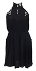 Plus Size Crocheted Illusion Fit & Flare Dress Black