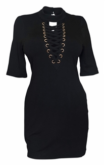 Plus Size Mock Turtleneck Lace Up Dress Black