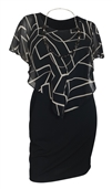 Plus Size Layered Poncho Dress Abstract Print Black 10816
