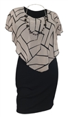 Plus Size Layered Poncho Dress Abstract Print Taupe 10816
