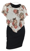 Plus Size Layered Poncho Dress Floral Print Off White 10816