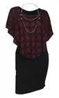 Plus Size Layered Poncho Dress Red Glitter Print Black 10816