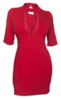 Plus Size Mock Turtleneck Lace Up Dress Red