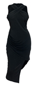 Plus Size Sleeveless Asymmetrical Hem Dress Black