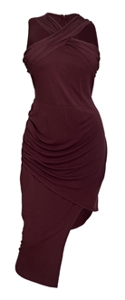Plus Size Sleeveless Asymmetrical Hem Dress Mauve