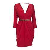 Women's Deep V-Neck Wrap Bodice Long Sleeve Dress Red