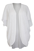Women's Soft Knit Open Front Longline Cardigan White