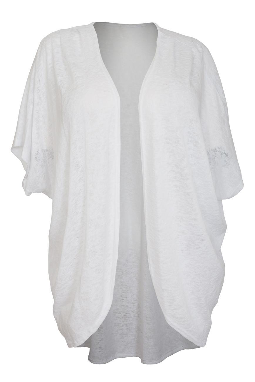 Women's Soft Knit Open Front Longline Cardigan White | eVogues Apparel