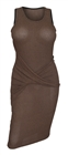 Women's Soft Knit Sleeveless Stretch Dress Brown