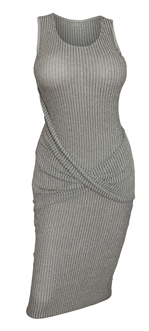 Women's Soft Knit Sleeveless Stretch Dress Gray