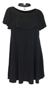 Women's Flounce Layered Bodice Dress With Necklace Detail Black