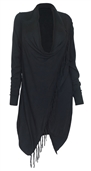 Women's Soft Knit Fringed Shawl Cotton Sweater Cardigan Black