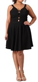 Women's Peep hole Fit and Flare Dress Black