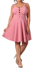 Women's Peep hole Fit and Flare Dress Pink