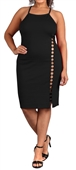 Women's Sleeveless Cutout Midi Dress Black