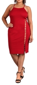 Women's Sleeveless Cutout Midi Dress Red