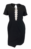 Women's Sexy Cutout Fit and Flare Dress Black