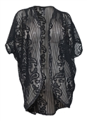 Women's Open Front Sheer Paisley Lace Cardigan Black