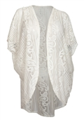 Women's Open Front Sheer Paisley Lace Cardigan White