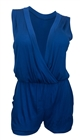 Plus size Deep V-Neck Sleeveless Romper Royal Blue 17117