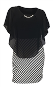 Women's Layered Poncho Dress Stripe Skirt Black