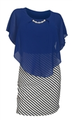 Women's Layered Poncho Dress Stripe Skirt Royal Blue