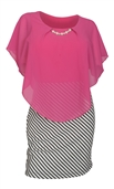 Women's Layered Poncho Dress Stripe Skirt Pink