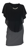 Women's Layered Poncho Dress Stripe Skirt Black 2