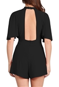Women's Keyhole Solid Knit Romper Black