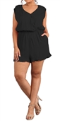 Women's Lace Shoulder Relaxed Fit Romper Black