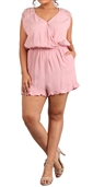 Women's Lace Shoulder Relaxed Fit Romper Blush