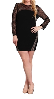 Women's Lace Sleeve Mini Dress Black
